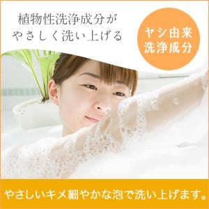 植物性洗浄成分が洗い上げる